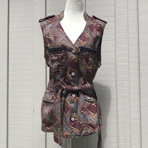 ELEVENSES African Print Button-Up Vest w/Belt
